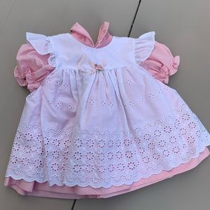 Vintage baby dress pink and white eyelet